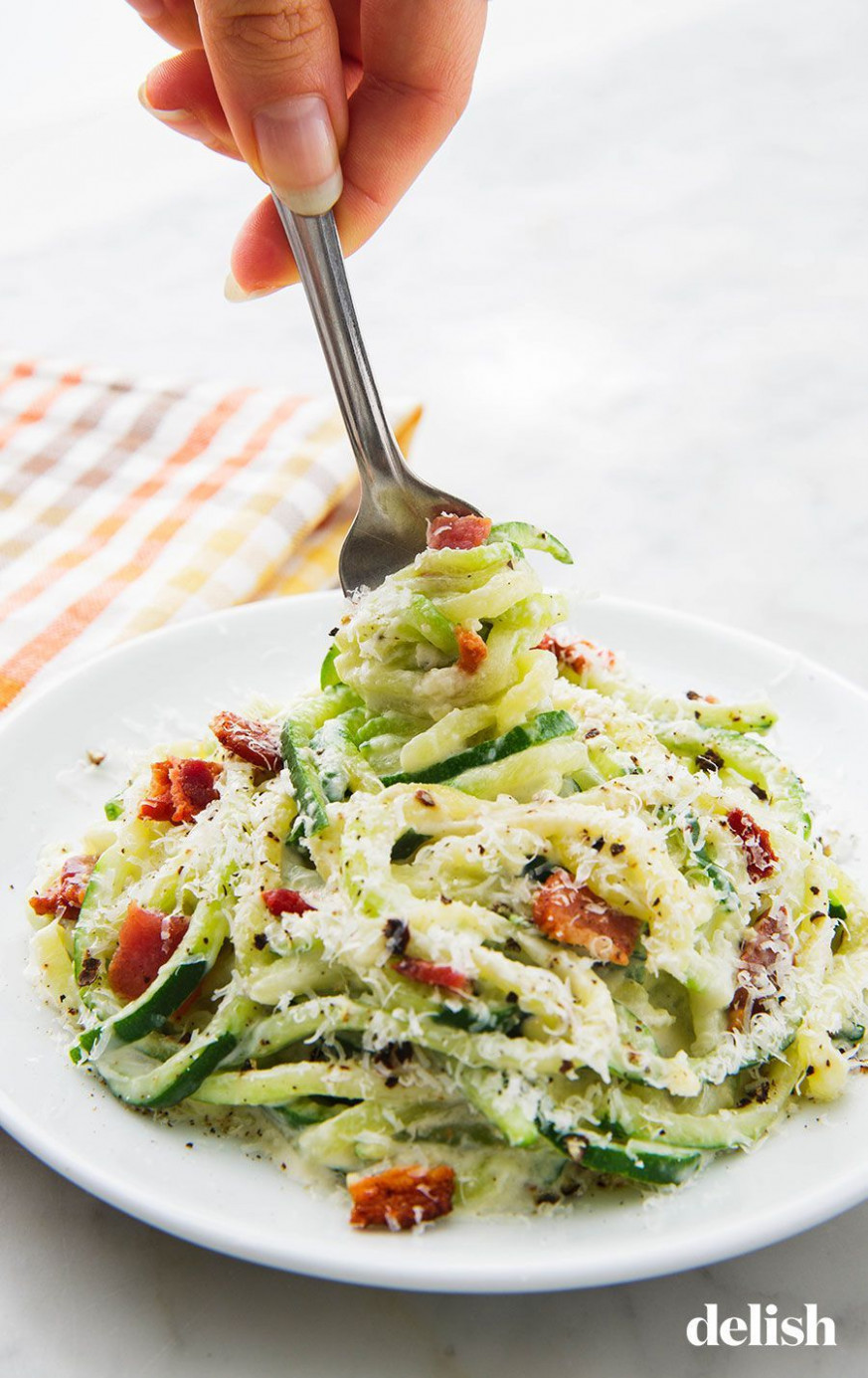 Zoodle Alfredo With Bacon