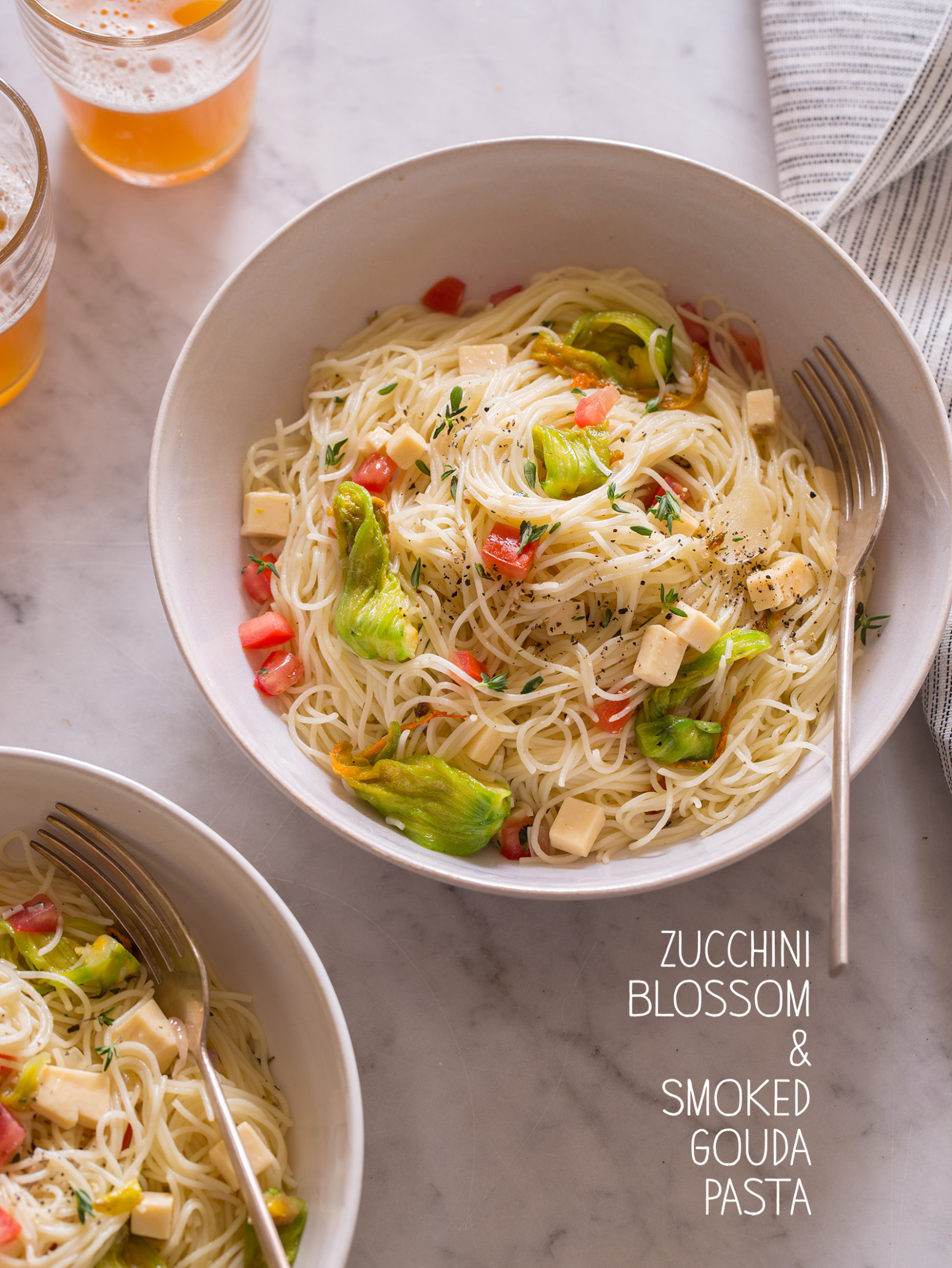 Zucchini Blossom and Smoked Gouda Pasta | Spoon Fork Bacon