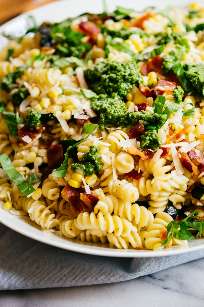 Zucchini Corn and Bacon Pasta with Parmesan and Basil ...