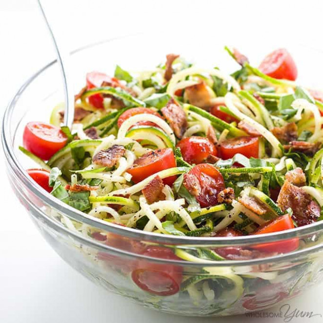 Zucchini Noodle Salad Recipe with Bacon & Tomatoes (Low ...