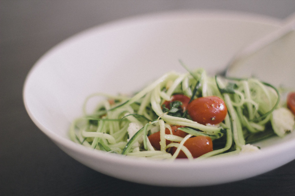 Zucchini Pasta with Herbed Tomatoes