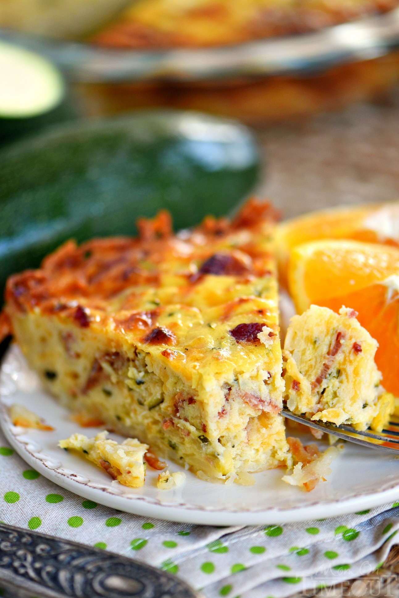 Zucchini Quiche with Bacon and Hash Brown Crust - Mom On ...
