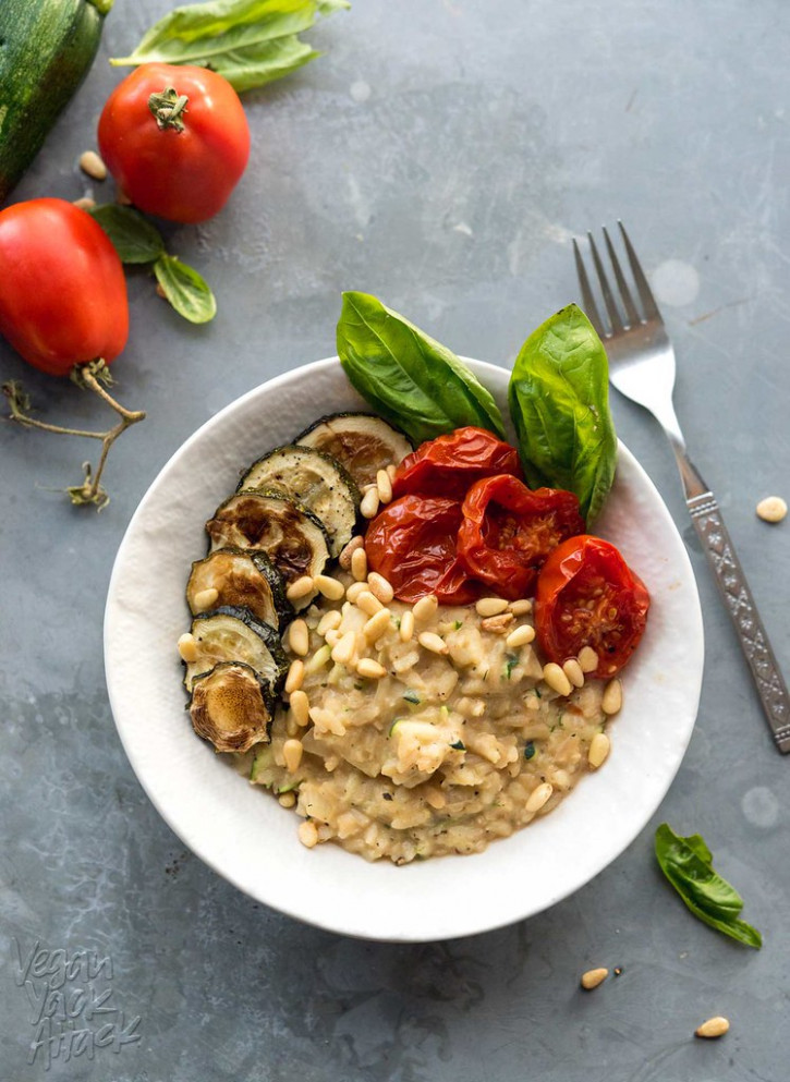 Zucchini Risotto With Roasted Tomatoes