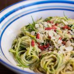 Cucumber & Zucchini Noodles With Spicy Almond Sauce